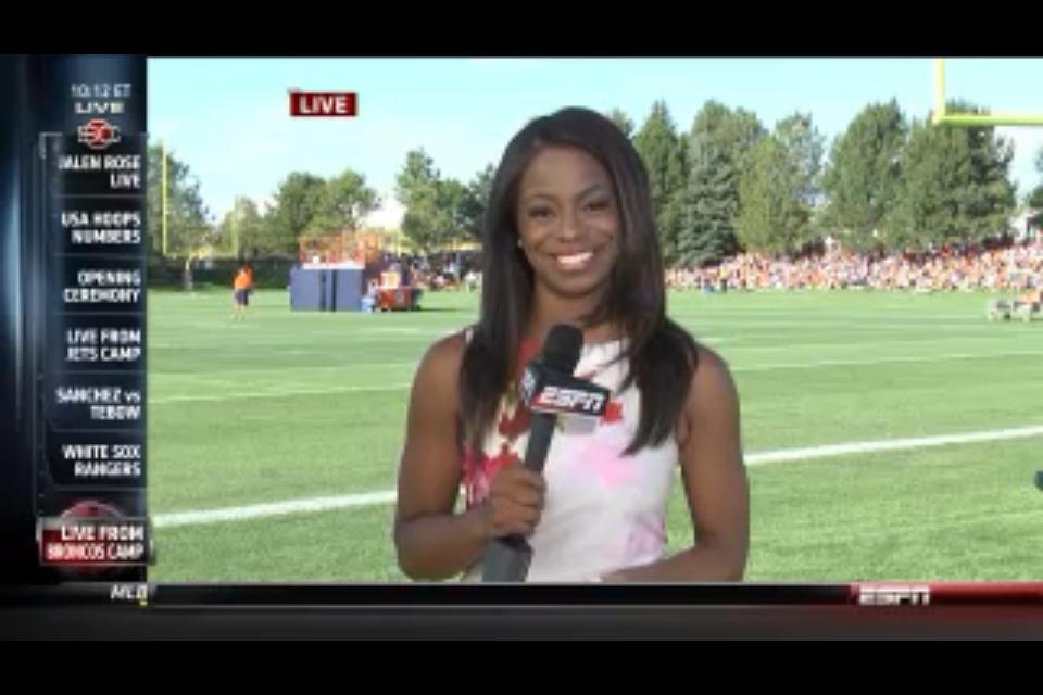 """Josina """"JoJo"""" Anderson at Bronco's Training Camp for live SportsCenter ..."""